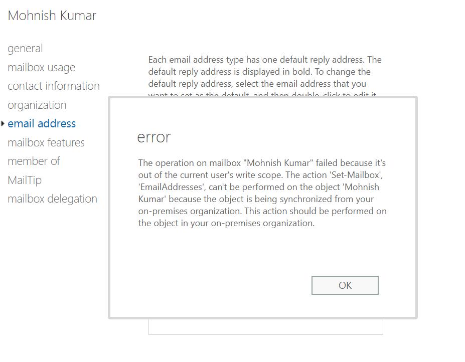 Figure 3 Exchange Online error demonstrating AD is the source of authority