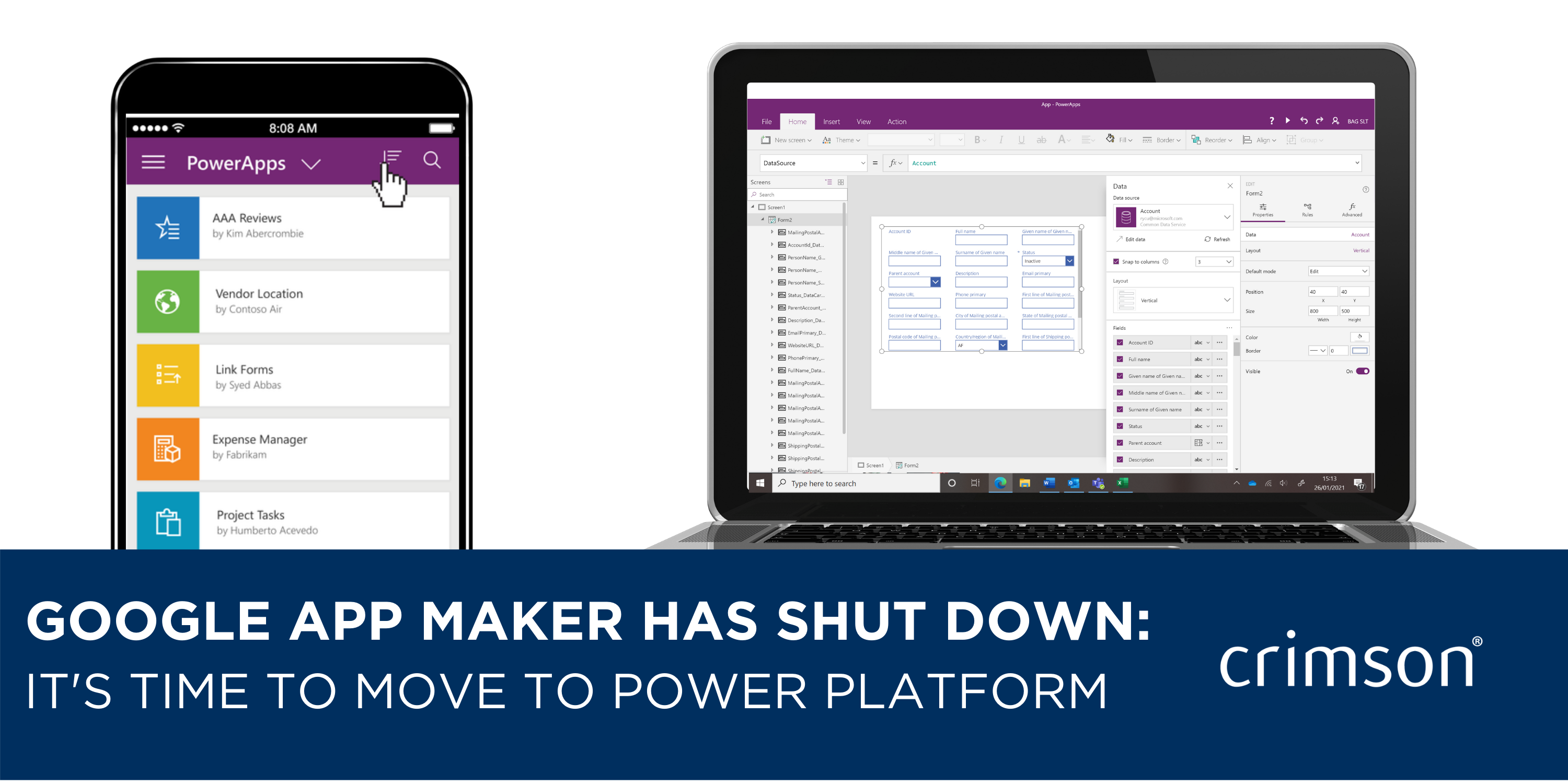 Google App Maker has shut down - choose Power Platform